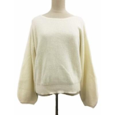 【中古】オペークドットクリップ セーター ニット ボートネック リブ アンゴラ混 長袖 40/L 白 ホワイト レディース