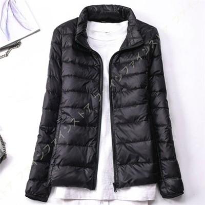 レディース ショートダウンジャケット 立ち襟 スタイリッシュ 冬 暖かい 厚手ジャケット 軽量 キルティング風コート スリム 大きいサイズ ダウンコート