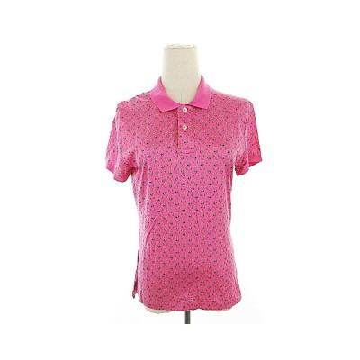 【中古】ラルフローレン RALPH LAUREN ポロシャツ 半袖 総柄 スリット L ピンク /AAM19 レディース 【ベクトル 古着】