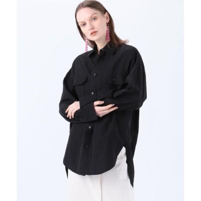 (MACPHEE/マカフィー)セルロースリネンコットン オーバーサイズドシャツ/レディース 17チャコールグレー