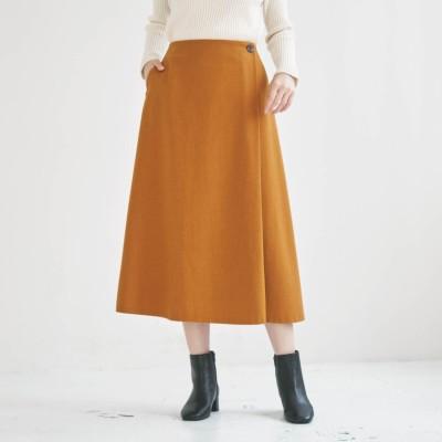 【再値下げ】洗えるウール混フラノラップ風スカート