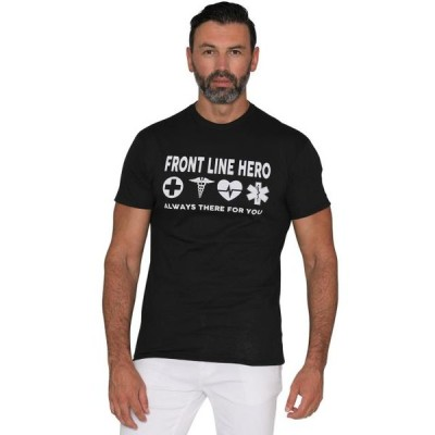 メンズ 衣類 トップス Men's and Women's Funny T-Shirts Sarcastic T-Shirt For Adults Short Sleeve Graphic Tee Front Line Hero Black Size: Smal