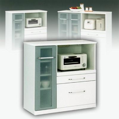 キッチンカウンター 90 レンジラック ホワイト 白