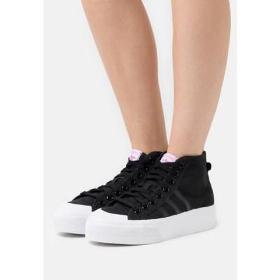 アディダス レディース 靴 シューズ NIZZA PLATFORM MID - High-top trainers - core black/footwear white/shock pink