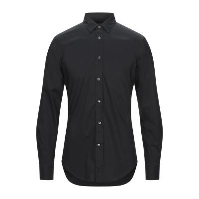 マウロ グリフォーニ MAURO GRIFONI シャツ ブラック 40 コットン 71% / ナイロン 25% / ポリウレタン 4% シャツ