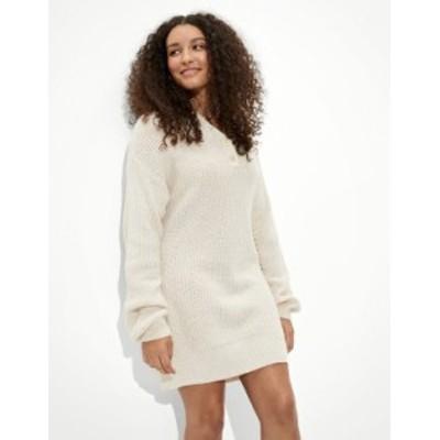 アメリカンイーグル レディース ワンピース トップス AE Henley Sweater Dress Oatmeal