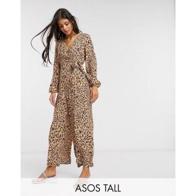 エイソス ASOS Tall レディース オールインワン ジャンプスーツ ワンピース・ドレス tall wrap tie jumpsuit in leopard print レオパードプリント