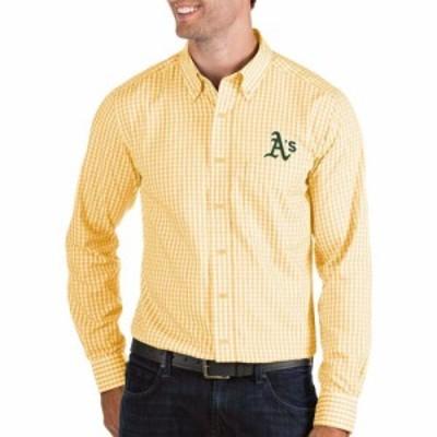 アンティグア Antigua メンズ シャツ トップス Oakland Athletics Structure Button-Up Gold Long Sleeve Button Down Shirt