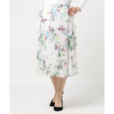 スカート LURISSA フラワープリント フリルスカート