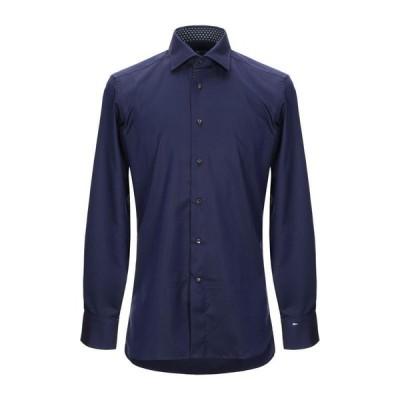 SONRISA 無地シャツ ファッション  メンズファッション  トップス  シャツ、カジュアルシャツ  長袖 ダークブルー