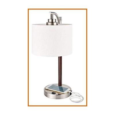 """送料無料 Kira Home York 18"""" Minimalist Arc Table Lamp w/ 2.0 AMP USB Charging Port, White Drum Shade + 7W Bulb (Eco-Friendly, 3000K Warm"""