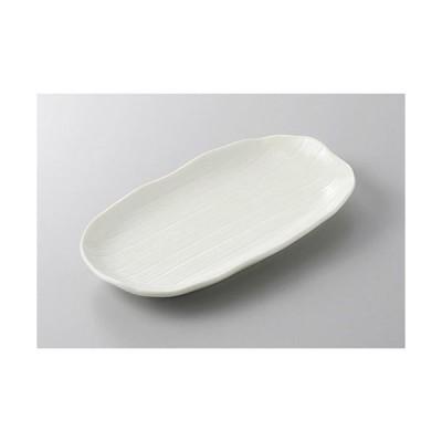 焼物皿 笹型焼物皿(白釉) [22.5 x 12.5 x 2.8cm]  料亭 旅館 和食器 飲食店 業務用