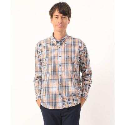 ヤマトインターナショナル メンズ クロコダイル モールチェックシャツ オレンジ M