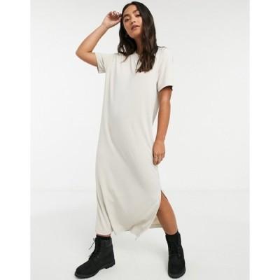 モンキ レディース ワンピース トップス Monki Isabella midi t-shirt dress in beige
