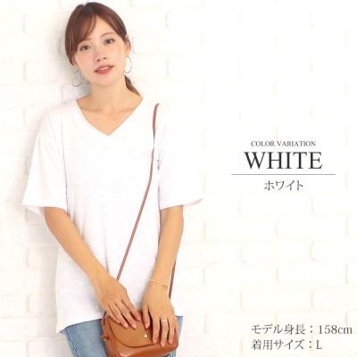 アミュレット Amulet シンプルVネックTシャツ韓国ファッションレディースコットンスリム通気性涼しい【vl-5223】【S/S】 (ホワイト)