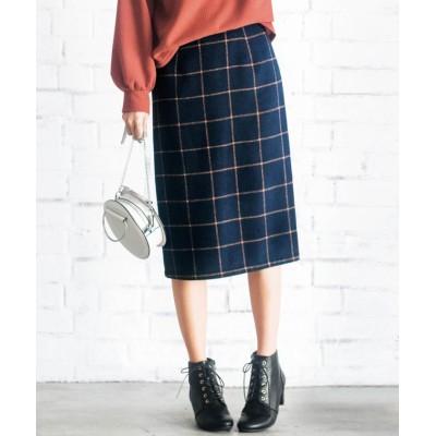 【ジーラ】 フェイクウールチェックナロースカート   レディース ネイビー系 S GeeRa