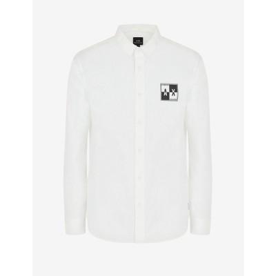アルマーニ シャツ トップス メンズ Long Sleeve Logo Square Shirt White