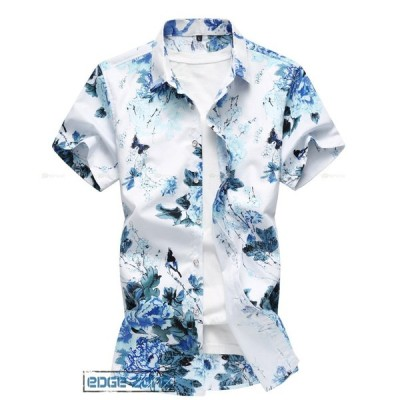 花柄シャツ メンズ カジュアルシャツ ビッグサイズ アロハシャツ 半袖 爽やか シャツ 涼しい お兄系 ストレッチ ハワイ 総柄