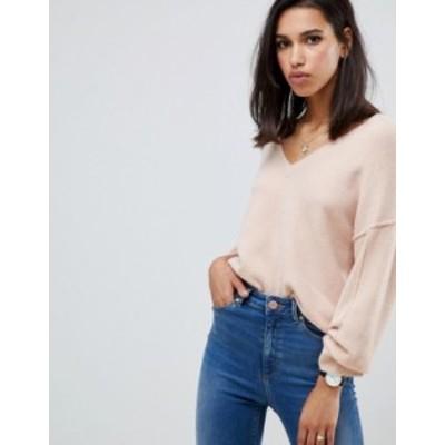 エイソス レディース ニット・セーター アウター ASOS DESIGN fluffy sweater with v neck Blush