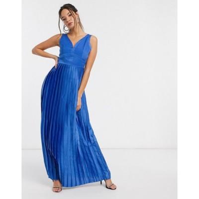 リトルミストレス マキシドレス レディース Little Mistress satin maxi dress in blue エイソス ASOS ブルー 青