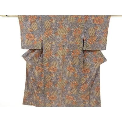 宗sou 石畳に花更紗模様小紋着物【リサイクル】【着】