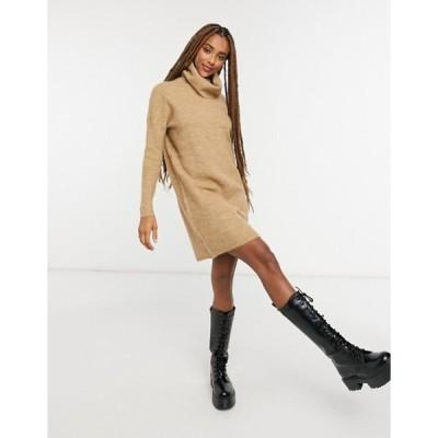 オンリー レディース ワンピース トップス Only sweater dress with roll neck in brown