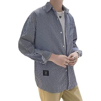 3カラー M〜2XL 春 夏 ストライプ シャツジャケット カジュアル ゆったり 羽織 メンズ 長袖シャツ ポケット付き(ネイビー, L)