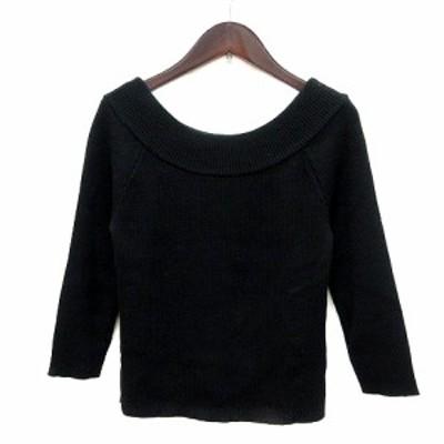 【中古】ビアッジョブルー Viaggio Blu ニット セーター 七分袖 ウール 2 黒 ブラック /MN レディース