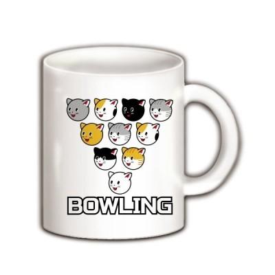 ボウリングと猫ピン マグカップ(ホワイト)
