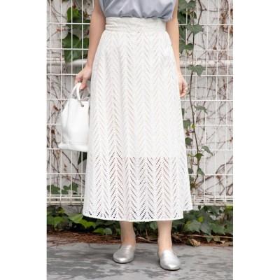 【ローズバッド/ROSEBUD】 サイドボタンレーススカート