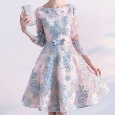 パーティードレス 3色 可愛い ミニドレス 刺繍 花柄 七分袖 膝丈 ボートネック バックコンシャス 背中見せ 着痩せ フレア Aライン