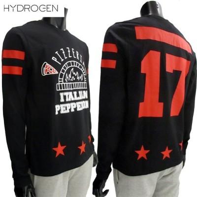 ハイドロゲン HYDROGEN メンズ トップス ロンT 長袖 ロゴ マルチプリント付ロングTシャツ 黒 220611 007 (R28080) 81S