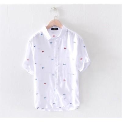 シャツ メンズ リネンシャツ 刺繍 半袖 夏 綿麻 サマー 麻シャツ カジュアル 麻混シャツ 紳士 2020