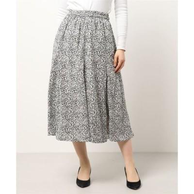 スカート 小花柄 ミディ丈 フレア ロングスカート