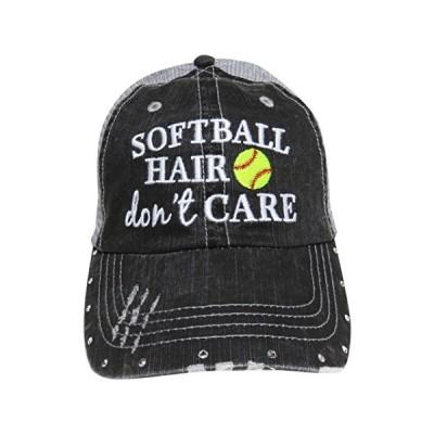 Embroidered Softball ヘアー Don't Care グレー Trucker ベースボール キャップ W/クリスタル(海外取寄せ品)