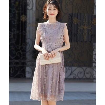 ドレス 総レースの膝丈ワンピースドレス / 結婚式ワンピース パーティードレス