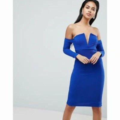 エイソス ワンピース V Bar Bardot Textured Midi Dress Cobalt