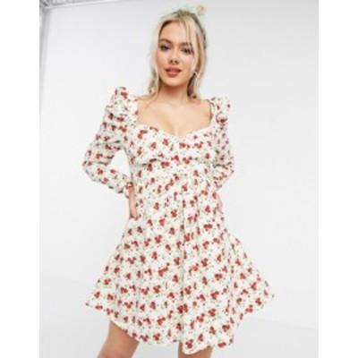 エイソス レディース ワンピース トップス ASOS DESIGN bustier mini babydoll dress in floral print White based floral