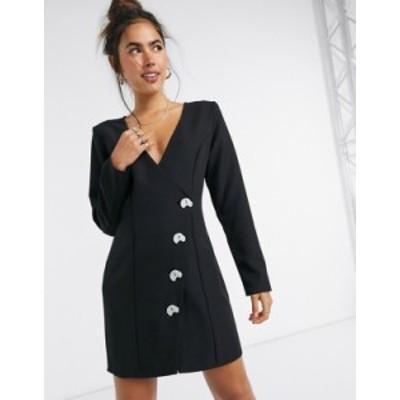 エイソス レディース ワンピース トップス ASOS DESIGN aysmmetric wrap mini dress with contrast buttons in black Black