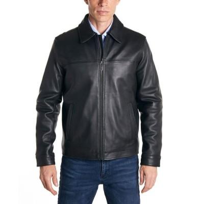 ペリー エリス Perry Ellis メンズ レザージャケット アウター Classic Leather Jacket Black