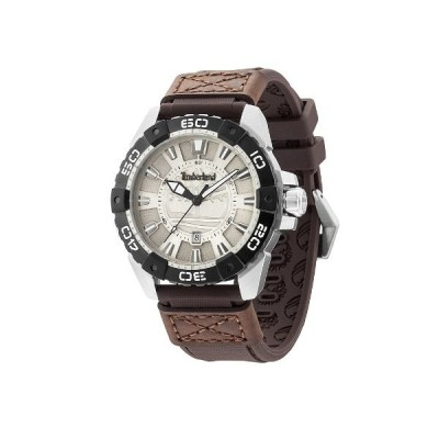 Timberland TBL-13865JSTB-13 Men's Somerville Grey Dial Brown Silicone & Leather Strap Watch 並行輸入品