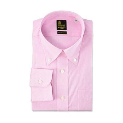 [ワセダヤシャツ] ワイシャツ 早稲田屋 綿100% ノーアイロンシャツ 長袖ワイシャツ ボタンダウン すっきりシルエット メンズ WDT04003