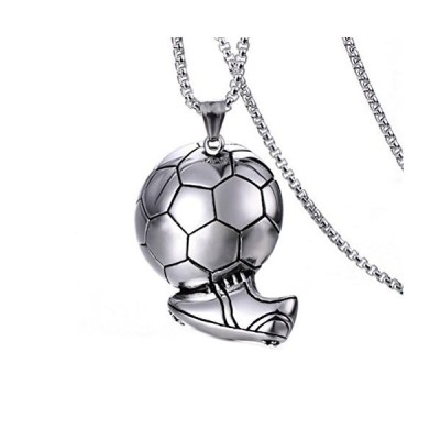pamtier TitantiumサッカーボールFootballペンダントネックレスフリーチェーンブラックシルバーゴールドメンズレディース