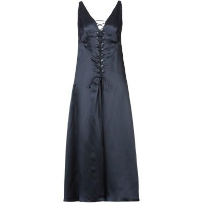 デレク ラム DEREK LAM 7分丈ワンピース・ドレス ダークブルー 36 アセテート 80% / 麻 20% 7分丈ワンピース・ドレス