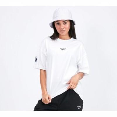 リーボック Reebok レディース Tシャツ トップス oversized short sleeved t-shirt White/Navy
