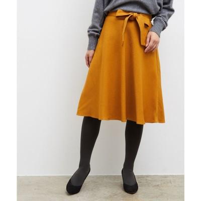 ROPE' PICNIC プレミアムフィールリボン付きフレアスカート(カラシ系(88))【返品不可商品】