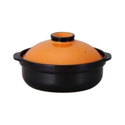 (業務用・土鍋)宴 5.5号鍋 オレンジ/ブラック(入数:1)