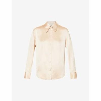 ヴィンス VINCE レディース ブラウス・シャツ トップス Point-collar silk-satin shirt Sand Dollar-sdo