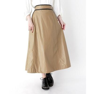 ZAMPA(ザンパ) エコレザーバイカラーフレアスカート