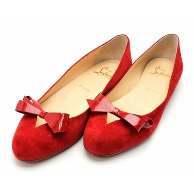 (靴)Christian Louboutin クリスチャン ルブタン フラットパンプス バレエパンプス 靴 スエード エナメル リボン レッド 赤 サイズ36.5 1170185